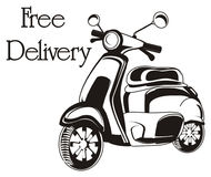 Delivery in moped. Black and white moped with words free delivery Royalty Free Stock Images
