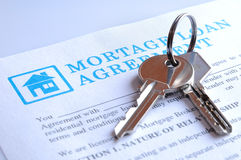 Delivery of the mortgage contract and keys. Delivery of the mortgage contract for a new house and keys Stock Photos