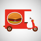 Delivery motorcycle fast food burger Royalty Free Stock Photos