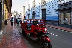 Delivery motorcycle in Lima Royalty Free Stock Photography