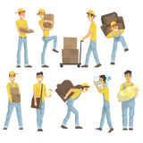 Delivery And Moving Company Employees Carrying Heavy Objects, Delivering Shipments And Helping With Removal Set Of Royalty Free Stock Photo