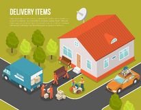 Delivery Moving New Settler Illustration. Colored isometric delivery moving new settler illustration with truck near house and loaders hired to move vector Royalty Free Stock Photography