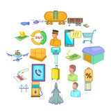 Delivery note icons set, cartoon style. Delivery note icons set. Cartoon set of 25 delivery note vector icons for web isolated on white background Royalty Free Stock Photography