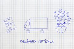 Parcel next to track and open box with fashion items coming out Stock Images