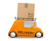 Delivery orange mini cartoon car with a box Royalty Free Stock Photos
