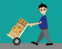 Delivery order. Delivery man is ready to send the package Royalty Free Stock Photos