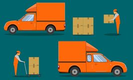 Delivery organge pickup cab car with man hole the box case crate packing vector illustration eps10 royalty free illustration