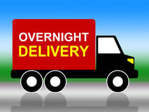 Delivery Overnight Represents Next Day And Transportation. Overnight Truck Indicating Next Day And 24Hr Royalty Free Stock Photos