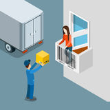 Delivery package home door box deliveryman customer flat vector. Delivery package to home door flat 3d isometry isometric shopping concept web vector Royalty Free Stock Photos
