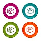 Delivery Package icons. Shipping signs. Colorful web button with icon. Eps10 Vector royalty free illustration