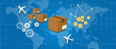 Delivery package shipping world wide map globe Royalty Free Stock Image