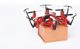 Delivery packages via drones. Concept. Fast air parcel shipping stock image