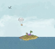 Delivery. Parachute delivery to man on island Royalty Free Stock Photo