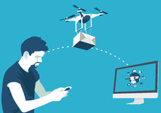 Delivery of parcels by drone Stock Photos