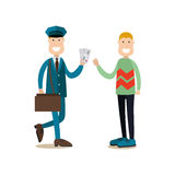 Delivery people concept vector illustration in flat style. Vector illustration of postman delivering letters to receiver man. Delivery people concept flat style Stock Image