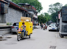 Delivery people work in Beijing's hutongs Royalty Free Stock Photo