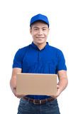 Delivery Person. Asian postman with parcel box. Postal delivery. Service. White Background Stock Photos
