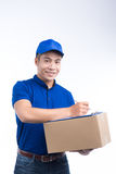 Delivery Person. Asian postman with parcel box. Postal delivery Stock Image