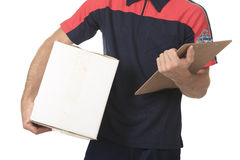 Delivery person delivering packages holding Royalty Free Stock Photo