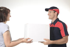 Delivery person delivering packages Stock Images