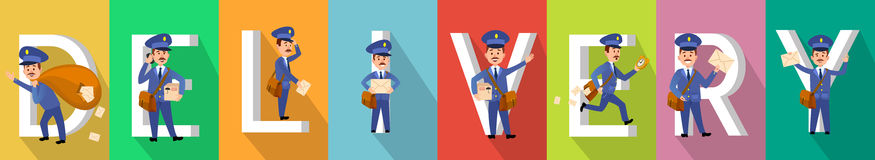 DELIVERY Picture Set with Mailman Characters. DELIVERY picture collection with mail man characters. Vector poster of mailman work on colourful backgrounds with Stock Photography