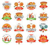 Delivery pizza badge vector illustration. Stock Images