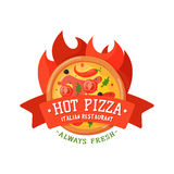 Delivery pizza badge vector illustration. Stock Photos