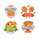 Delivery pizza badge vector illustration. Royalty Free Stock Photo