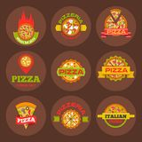 Delivery pizza logo badge pizzeria restaurant service fast food vector illustration. Royalty Free Stock Image