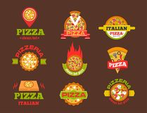Delivery pizza vector logo badge pizzeria restaurant service fast food illustration. Stock Photo