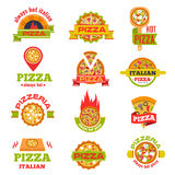 Delivery pizza logo badge set vector illustration. Royalty Free Stock Images