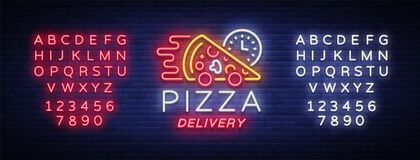 Delivery pizza neon sign. Logo in neon style, light banner, luminous symbol, bright night neon advertising food delivery. For cafe, pizzerias, dining. Vector vector illustration