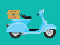 Delivery pizza with vespa to order and deliver Stock Photos