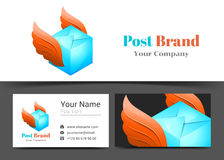 Delivery Post Corporate Logo and Business Card Sign Template. Creative Design with Colorful Logotype Visual Identity Composition Made of Multicolored Element Stock Images