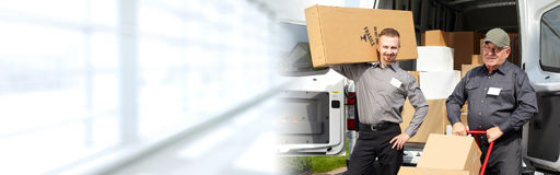 Delivery postman with a box Royalty Free Stock Images