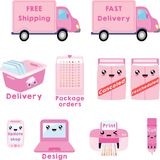 Delivery and printer clipart, free shipping clipart, canceled, rescheduled Stock Photo