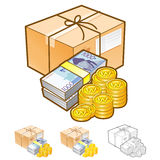 Delivery receive cash settlement Illustration. Product and Distr Royalty Free Stock Images