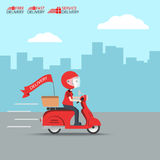 Delivery Ride Motorcycle Service, Order Worldwide Shipping, Fast and Free Transport, food express, vector illustration cartoon Royalty Free Stock Image
