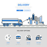 Delivery road transport banner line art vector icons lineart Stock Photography