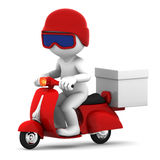 Delivery scooter with big white box Stock Images