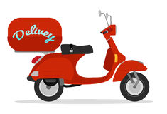 Delivery scooter. Red delivery scooter vintage style Stock Photo