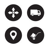 Delivery service black icons set Royalty Free Stock Image