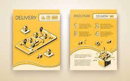 Delivery service booklet isometric vector template royalty free illustration