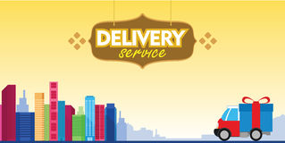 Delivery service box car with city background Royalty Free Stock Images