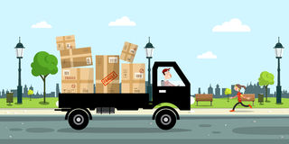 Delivery Service Car with Paper Boxes Royalty Free Stock Photos