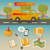 Delivery Service. Cargo Truck with Set of Elements: Containers, Checklist, Map. Vector Royalty Free Stock Photos