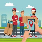 Delivery service at city. Courier with box on handtruck vector illustration graphic design Stock Photo