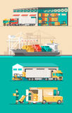 Delivery service concept. Container cargo ship loading, truck loader, warehouse. Stock Photo
