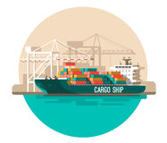 Delivery service concept. Container cargo ship loading, truck loader, warehouse. Flat style vector illustration Stock Photography