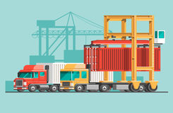 Delivery service concept. Container cargo ship loading, truck loader, warehouse. Royalty Free Stock Photos